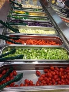 Vegetables at salad bar
