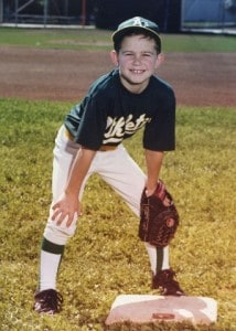 Evan Longoria playing youth baseball as a child