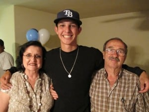 Jacob Faria with his grandparents